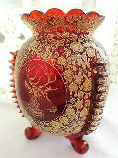 ANTIQUE BOHEMIAN MOSER GLASS RED VASE GOLD ENCRUSTED STAG GOAT BUTTERFLIES