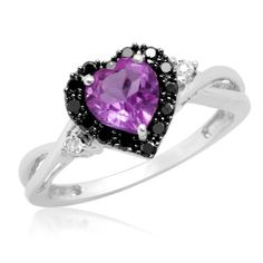White Gold Heart Shaped Amethyst with Round Black and White Diamond Ring