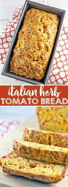 Italian Herb Tomato Bread: an easy savory quick bread starring fresh tomatoes, Italian herbs, garlic, and cheese. Bake up some summer right in your kitchen! {Bunsen Burner Bakery} Bread Machine Recipes, Quick Bread Recipes, Cooking Recipes, Cooking Tips, Pork Recipes, Sandwich Recipes, Drink Recipes, Salad Recipes, Herb Bread