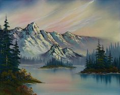 bob ross paintings for sale Watercolor Landscape, Landscape Art, Landscape Paintings, Beautiful Paintings Of Nature, Nature Paintings, Bob Ross Paintings, Realistic Paintings, Bob Ross Art, Mountain Paintings
