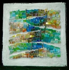 """slideshow and descriptions of mosaic series, 'Exploration of the Grid', 12"""" square abstract mosaics"""