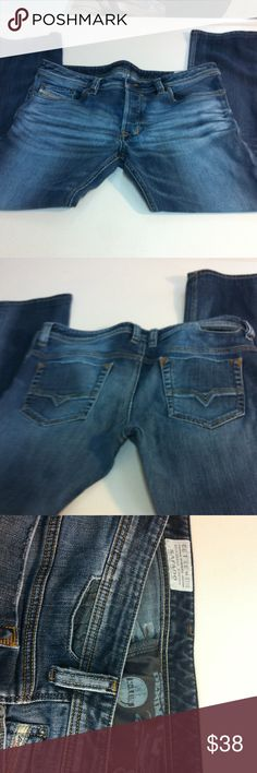 Men's Jeans Distressed, Diesel,  33x32 stretch says waist 33, but have stretched to 35-36 waist. Safado Jeans Slim Straight
