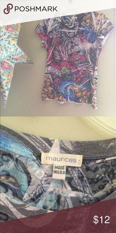 Graffiti print t shirt 🎼 Graffiti printed top! Very soft material! Fits small/medium. Maurices Tops Tees - Short Sleeve