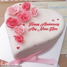 Best ever collection of happy wedding anniversary cakes images with name. Unique idea to wish someone online. Wedding Anniversary Cake Image, Happy Marriage Anniversary Cake, Anniversary Cake With Name, Romantic Anniversary, Anniversary Quotes, Anniversary Gifts, Birthday Cake Write Name, Online Birthday Cake, Birthday Cake Writing
