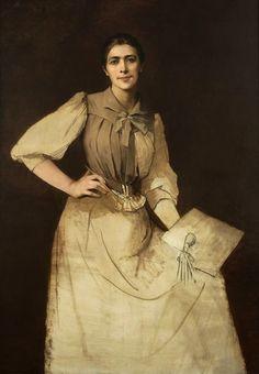 """""""Self-Portrait"""",(unfinished, 1892) by Anna Bilińska-Bohdanowiczowa (Polish, 1857- 1893) National Museum, Warsaw ."""