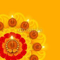 Decorated Diwali Diya on Flower Rangoli!!!