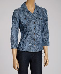 Loving this Blue Leopard Button-Up Jacket on #zulily! #zulilyfinds