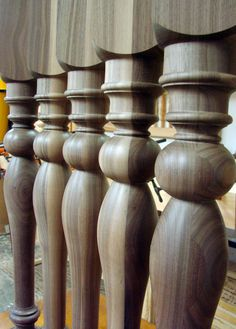 Turning pattern on Walnut table legs. Bryan Wood, Luxury Office, Wood Post, Walnut Table, Wood Stairs, Wood Turning Projects, My Furniture, Table Legs, Ceiling Design