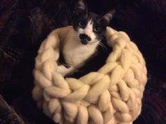Camita de gato, con lana de oveja