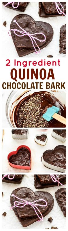 Amazing 2 Ingredient Quinoa Chocolate Bark. Use cookie cutters to make this easy chocolate bark in all kinds of fun shapes! Perfect home Valentine gift and a healthy way to get your sweet fix! (vegan, gluten free) www.wellplated.com