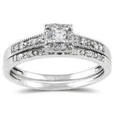 Real 14K White Gold Round Brilliant Cut Solitaire with Accents Engagement Ring #Jewelsbyeanda
