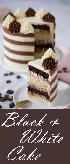 Black and white cake - If you only chocolate tart . Black and white cake – If you only want chocolate cake and vanilla cake … – Cake – cake # Black and white cake Easy Cake Recipes, Best Dessert Recipes, Cupcake Recipes, Easy Desserts, Delicious Desserts, Cupcake Cakes, Frosting Recipes, White Desserts, Vegan Recipes