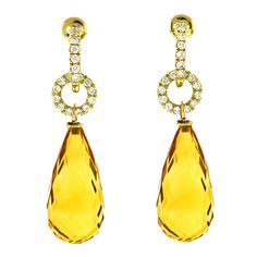 Citrine Diamond Daytime Drop Earrings