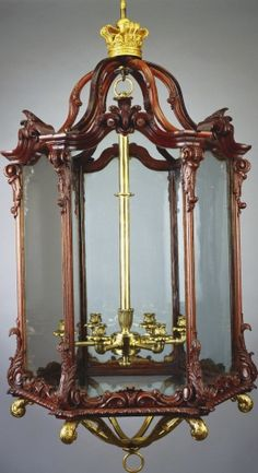 "1765 British Hanging lantern (one of a set) in the Royal Collection, UK - From the curators' comments: ""The design of these lanterns may have been influenced by Thomas Chippendale's more extravagantly rococo formula, first published in 1761 and issued as plate CLIII (right half) in the 1762 edition of the Director."""