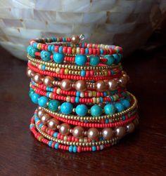 Beaded Wrap Bracelet Turquoise Bracelet Memory by jbyjosephine, $37.00