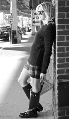Jeanne's Wellingtons look really adorable in monochrome