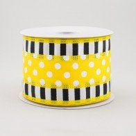 "1.5"" Natural Canvas Ribbon: Black, Yellow, White Dots (10 Yards) [Q816409-49] - CraftOutlet.com Deco Mesh Ribbon, Fabric Ribbon, Ribbon Bows, Ribbons, Black And White Ribbon, Black N Yellow, Craft Outlet, Halloween Deco Mesh, Yellow Theme"