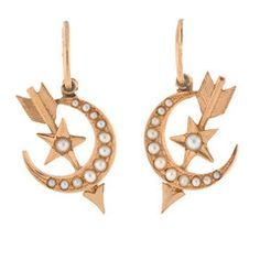 Image result for antique arrow earrings Arrow Jewelry, Arrow Earrings, Jewelry Box, Jewellery, Red Boots, Stars And Moon, Vintage Antiques, Antique Jewelry, Victorian