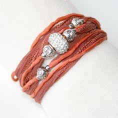 "Seidenarmband ""Pretty"" rostbraun-orange"