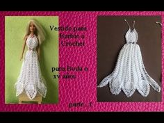 free crochet doll costumes for barbie dolls Barbie Dolls Diy, Barbie Clothes Patterns, Crochet Barbie Clothes, Barbie Gowns, Barbie Dress, Crochet Doll Pattern, Crochet Dolls, Crochet Video, How To Make Clothes