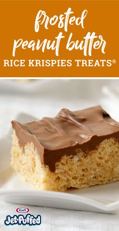 Frosted Peanut Butter RICE KRISPIES TREATS® – Wow the crowd with this easy, peanut butter dessert idea. With a tasty chocolate topping, this recipe is a fantastic upgrade to a timeless treat that your family always enjoys.