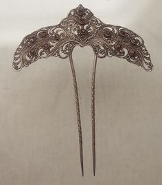 19th Century Silver and Garnet Antique Hair Comb Hair Pin Tiara | eBay