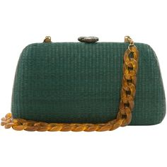 SERPUI Tina Green Clutch With Stone Closure ($225) ❤ liked on Polyvore featuring bags, handbags, clutches, green, green handbags, stone handbags, green purse, woven purse and green clutches