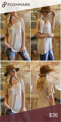 """Taupe Open Sleeve Pocket Tee Tunic Modeling size small. 96% rayon 4% spandex Bust laying flat pit to pit: S 18"""" M 19"""" L 20"""" Length S 28"""" M 29"""" L 30"""" Add to bundle to save when purchasing  IRPD8150216.2867P Infinity Raine Tops Tees - Short Sleeve"""