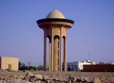 A water tower in Al-Muzahimiyah, Saudi Arabia.