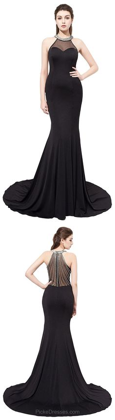 Black Prom Dresses Long, Cheap Prom Dresses For Teens 2018, Trumpet/Mermaid Evening Party Dresses Scoop Neck, Chiffon Formal Pageant Dresses Tulle with Crystal Detailing