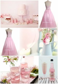 pink party with pink ball gown