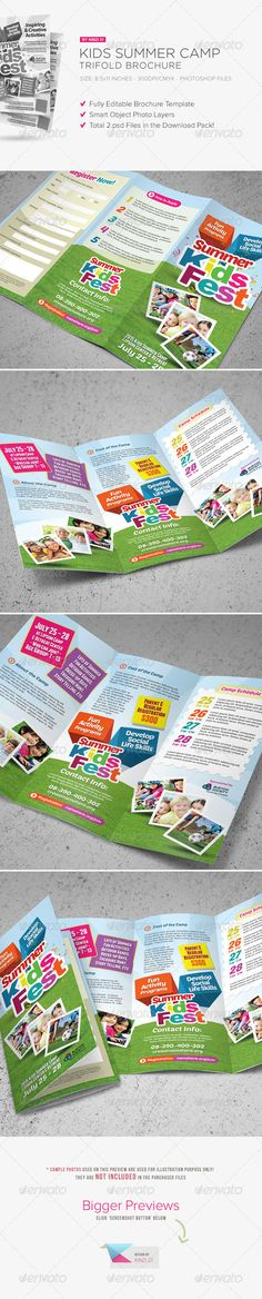 Kids Summer Camp Trifold Brochure is design template created for sale on Graphic River. More info of the template and how to get the template sourcefiles can be found on this page, http://graphicriver.net/item/kids-summer-camp-trifold-brochure/7812618?r=kinzi21
