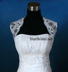 Sleeveless White Lace Wedding Bridal Bolero Jacket by StarsBridal, $32.00