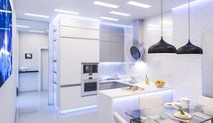 Kitchen Design Tidbits to Increase Your Storage Space and Efficiency, But Decrease Your Kitchen Size Industrial Kitchen Design, Modern Kitchen Design, Modern Kitchens, White Kitchens, Floor Design, House Design, Kitchen 2016, White Wash Brick, Bedroom Decor