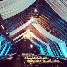 The Barn at Perona Farms with fabric installations.