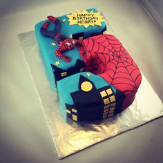 Spider-Man cake for a big 5 year old boy. Vanilla cake with chocolate.