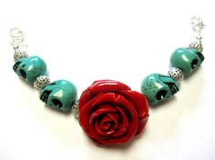 Day of the Dead Sugar Skull Bracelet With Red by sweetie2sweetie