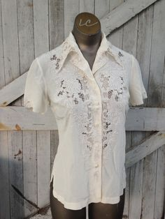 Cream colored silk blouse Vintage embroidered button front shirt size small Ivory cut work Asian top by melsvanity on Etsy