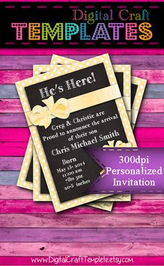 Personalized Printable Invitations | Yellow | Baby Gift | Baby Shower | Birth Announcement |  #62d