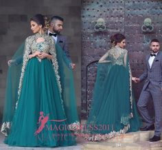 Myriam Fares 2017 Arabic Green A-Line Evening Dresses With Cape Long Train Long Sleeves Gold Embroidery Musilm Prom Party Gowns Formal Wear Party Prom Dresses Beaded Formal Evening Gown Crystal Evening Gowns Online with $139.0/Piece on Magicdress2011's Store   DHgate.com