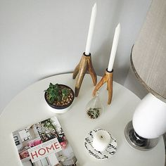 Living room side table vignette Home And Garden, Side Table, Candles, Taper Candle, Living Room Side Table