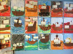 VOC schepen groep 5 Achtergrond met potlood, golven met wasco, zeilen geverfd