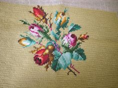Vintage Rose Floral Wool Crewel Needlepoint Cross Stitch Embroidery Artwork