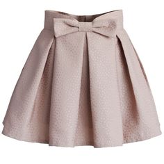 Chicwish Sweet Your Heart Bowknot Pleated Mini Skirt in Pink featuring polyvore women's fashion clothing skirts mini skirts bottoms saias faldas pink chicwish skirt pleated miniskirt short mini skirts lined skirt short brown skirt