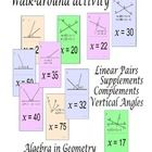 This activity is designed to help students with the linear pairs, supplementary angles, complementary angles, angle addition postulate and vertical...