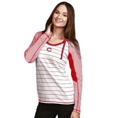 Cincinnati Reds Antigua Women's Zeal Hooded Long Sleeve T-Shirt - White - $35.99