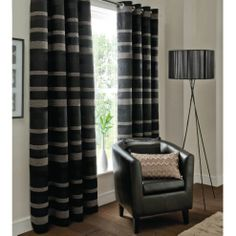 Buy Catherine Lansfield Home Arlington Curtains 66x72 (168x183cm) - Black from our Eyelet Curtains range - Tesco.com