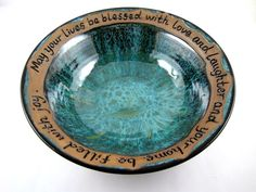 Pottery wedding gift handmade pottery bowl by Ningswonderworld, $100.00