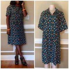 Hunter Green And Orange Vintage Dress by RozzCloset on Etsy