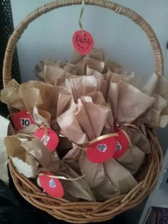 Home-made advent calendar. good for each kid to have their own basket